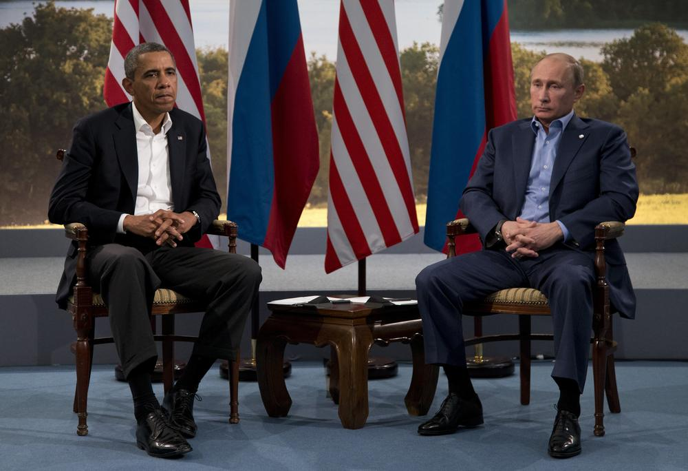 <p>President Barack Obama meet with Russian President Vladimir Putin in June to discuss the ongoing conflict in Syria.</p>