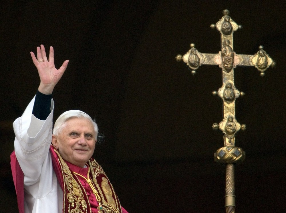 Pope Benedict XVI waves  to crowds from the window of the main balcony of St Peter(***)s Basilica in Vatican City. Cardinal Joseph Ratzinger of Germany became  the 265th pope of the Roman Catholic Church in April 2005.