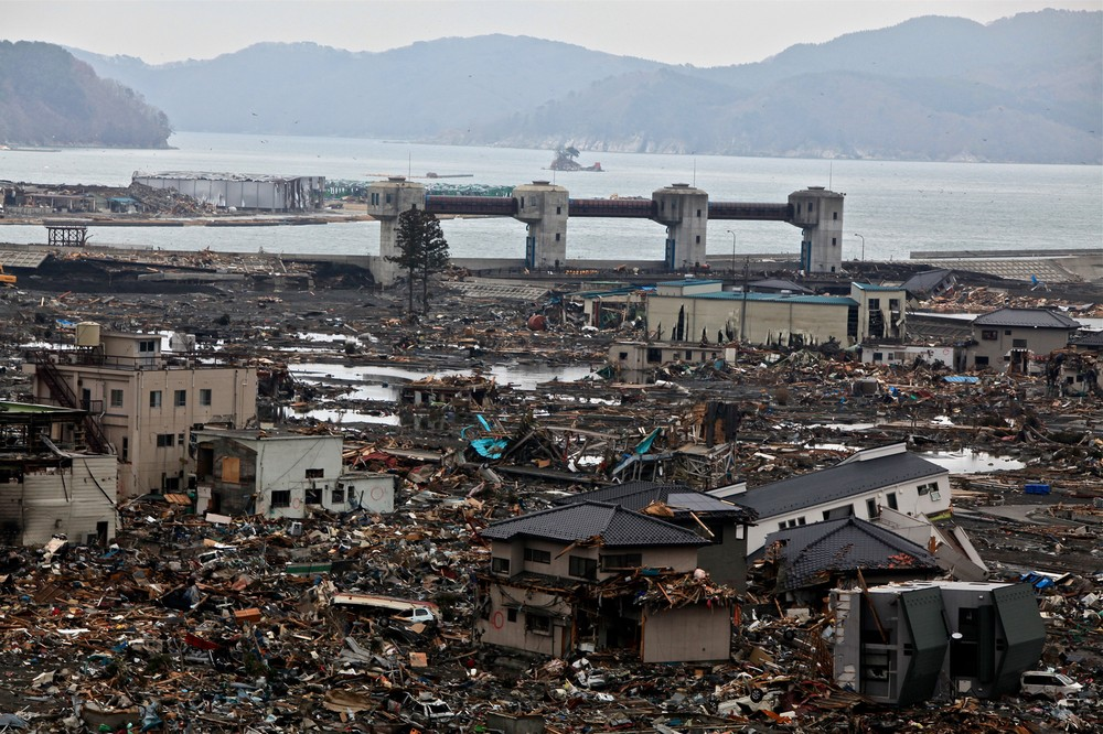The Japanese coastal town of Otsuchi, just days after the March 11, 2011 earthquake and tsunami.