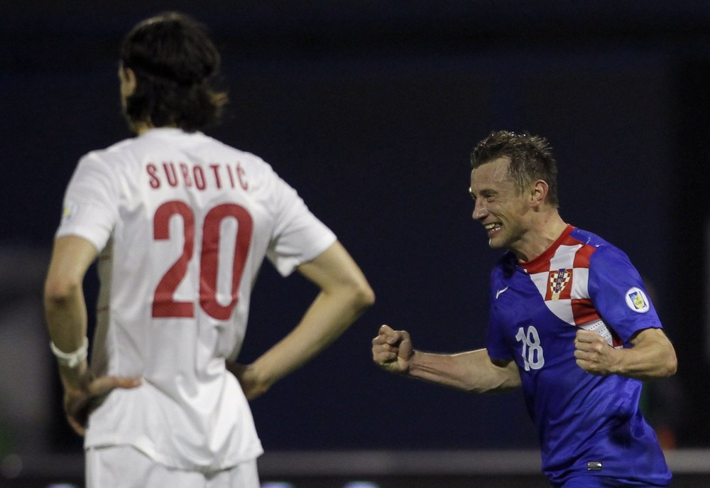 There were fortunately no off-pitch incidents when Balkan rivals Croatia and Serbia met for the first time as independent nations. It was Croatia who won the battle on the pitch with a 2-0 victory. Here veteran striker Ivica Olic (R) celebrates scoring the second.