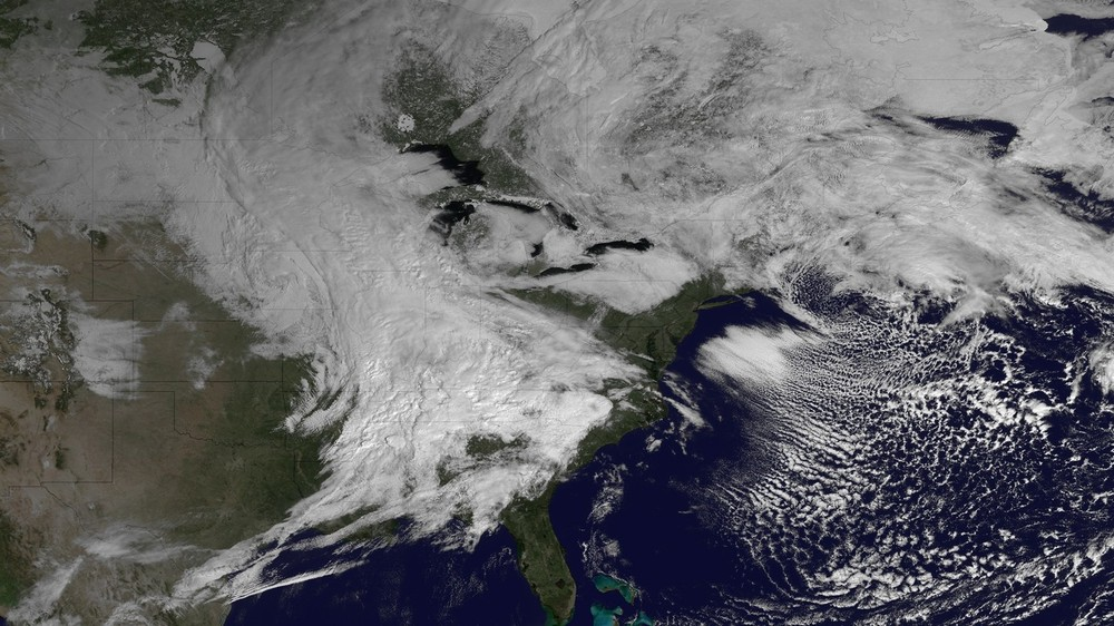 The storm was clearly visible on this satellite picture taken on March 5, stretching across much of the eastern half of North America. [NOAA]