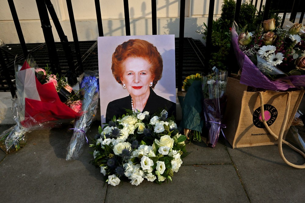 Flowers left by supporters don the residence of former British Prime Minister Margaret Thatcher, who died on April 8. Thatcher, a conservative icon seen by many as divisive, was the country\(***)s first female prime minister.
