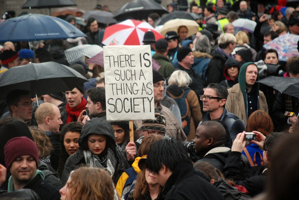"Hundreds braved the London rain on Saturday night to mark the death of Margaret Thatcher. The former British Prime Minister once famously stated that ""there is no such thing as society - there are individual men and women, and families""."