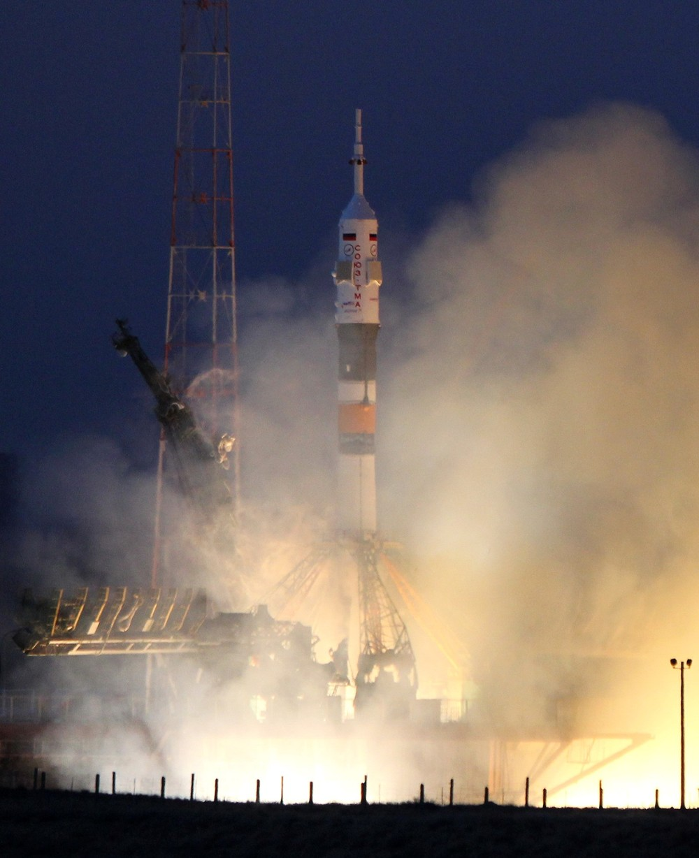 On December 19, 2012, a Soyuz spacecraft carrying Canadian astronaut Chris Hadfield, US astronaut Tom Marshburn and Russian cosmonaut Roman Romanenko blasted off from the Baikonur cosmodrome in Kazakhstan, bound for the International Space Station.