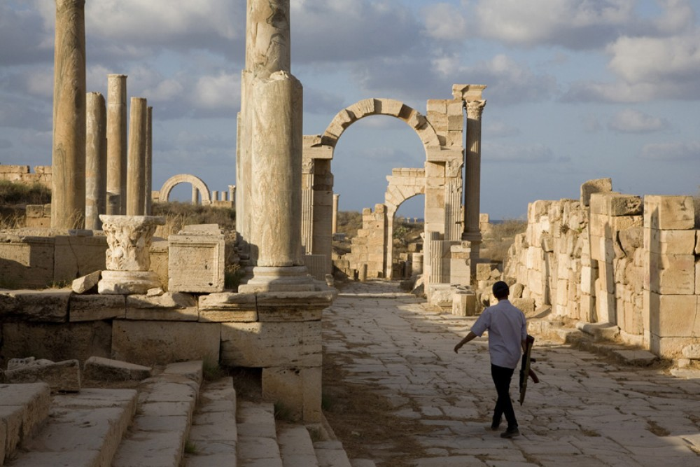 <p>The empty Cardo, one of the main streets of Leptis Magna. The locals have organised themselves to protect the site in the face of growing tourism and vandalism.</p>
