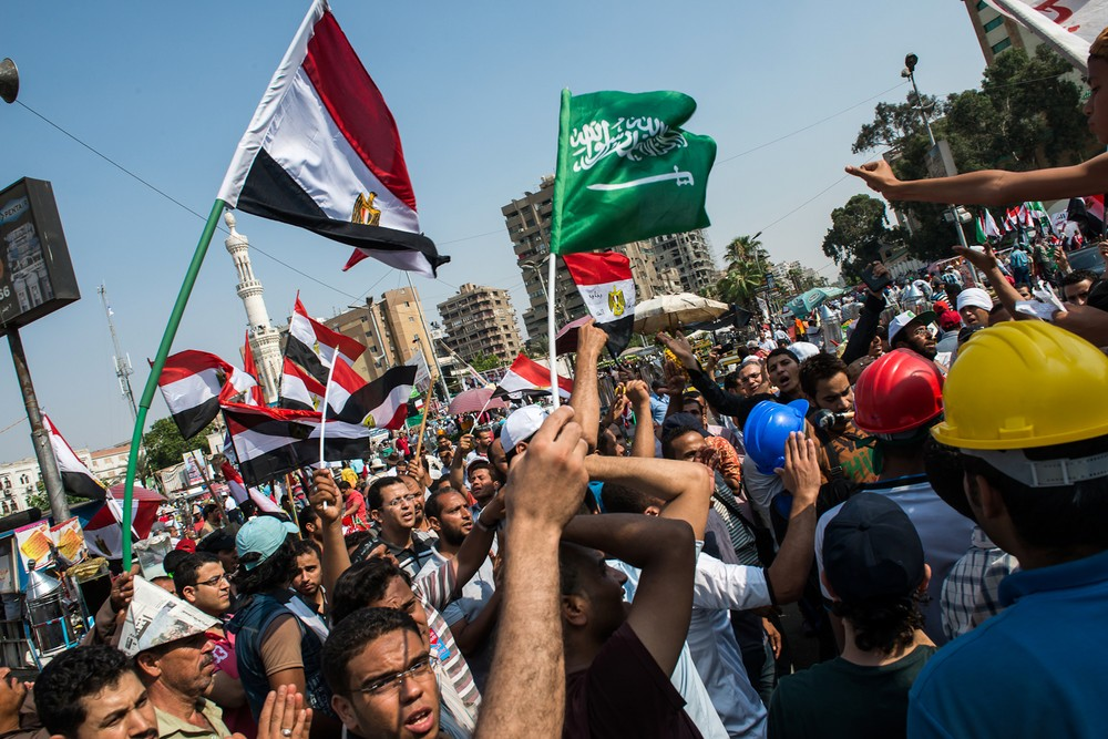 Pro-Morsi and Muslim Brotherhood supporters filled Rab\(***)a Aldawiya Square in Nasr City, Cairo