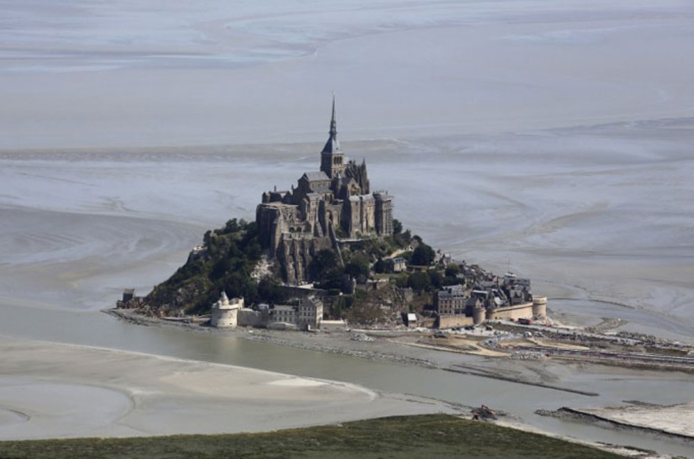 The Mont-Saint-Michel glistens in the sunshine.