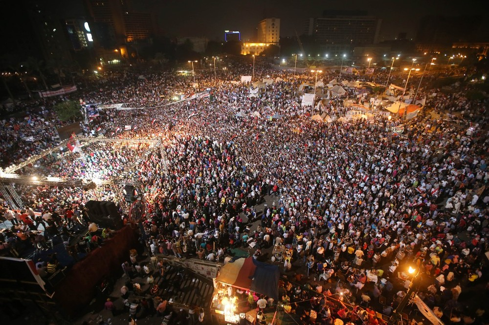 <p>Opponents of ousted President Mohammed Morsi gather during a rally at Tahrir square Friday, July 19.</p>