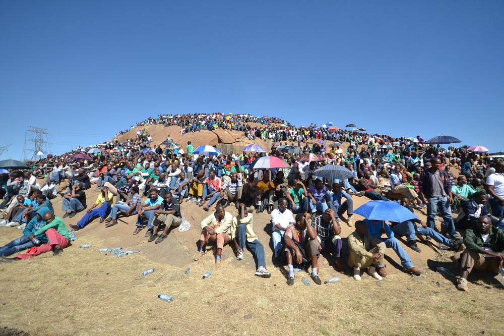 Thousands of workers went to the infamous hill where their comrades were shot.