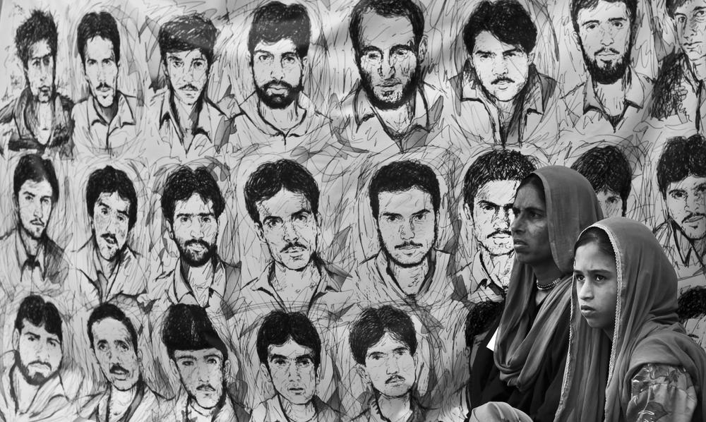 <p>A Kashmiri girl and her mother, whose husband has disappeared, move past portraits of youth who have disappeared in Indian-administered Kashmir. The Association of Parents of Disappeared Persons (APDP) say some 8,000-10000 people have disappeared in course of the conflict.</p>