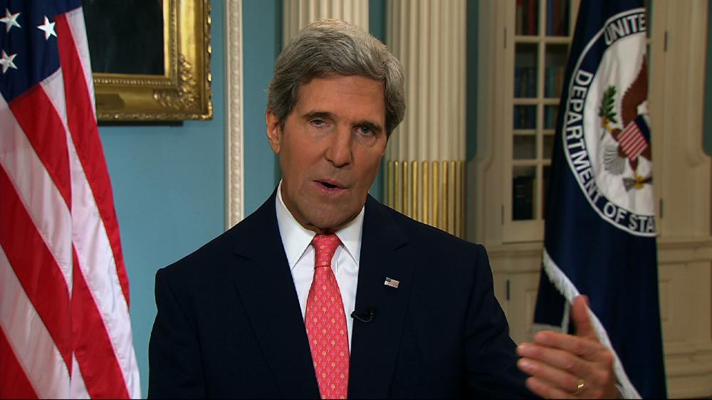 <p>US Secretary of State John Kerry speaks from the State Department in Washington Sunday, Sept. 1, 2013, making a case for intervention in Syria.</p>