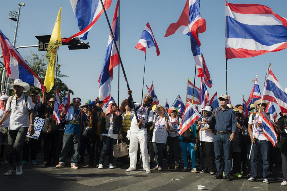 <p>Anti-government protesters gather at the Democracy Monument in Bangkok, before embarking on a march through the city centre - the first salvo in a planned 20-day &quot;shutdown&quot; of the Thai capital, starting Monday.</p>