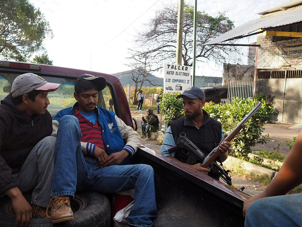 Militia members in the town of Paracuaro on January 6.