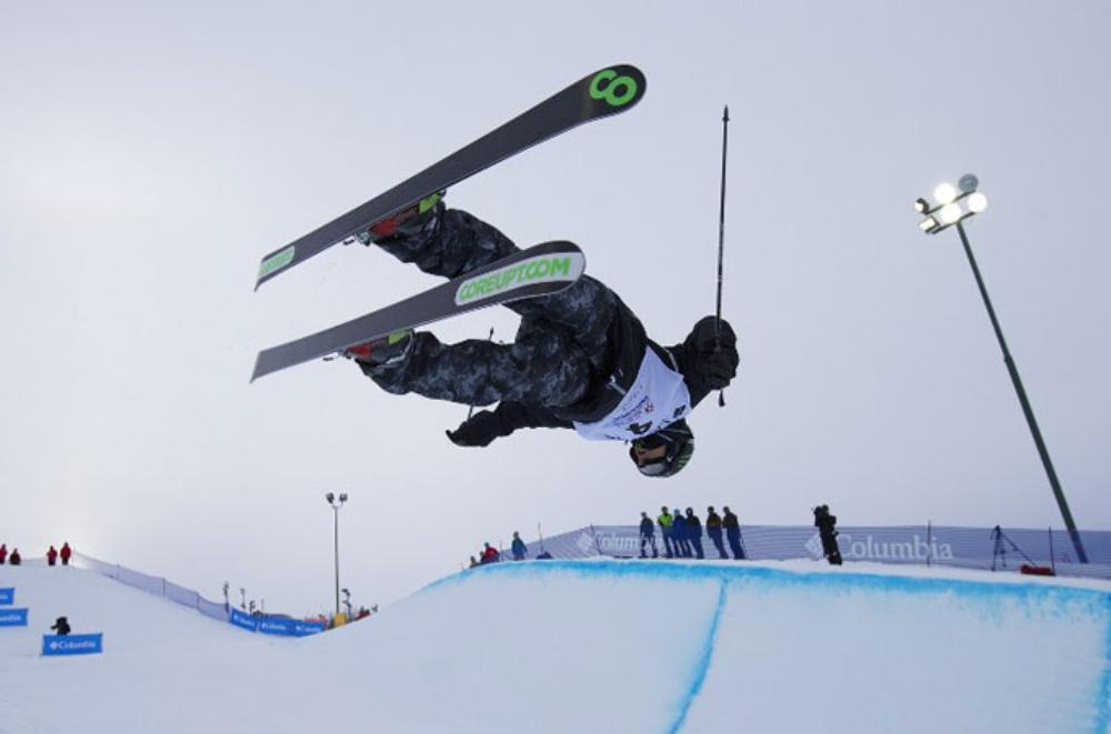 Justin Dorey of Canada is victorious at the halfpipe finals at the FIS Freestyle Ski World Cup in Calgary [AFP]