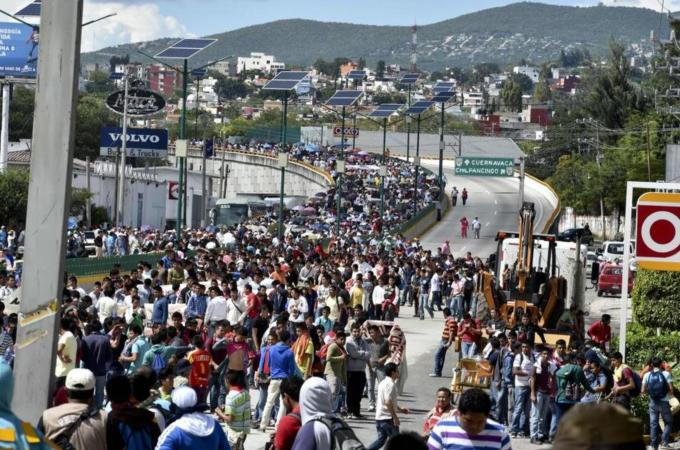 Thousands of protesters marched across Mexico on Wednesday to demand action from federal government