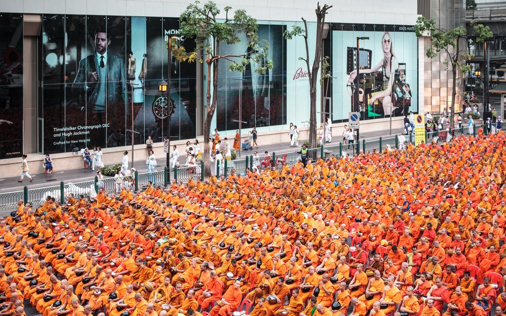 The gathering took place amid some of Bangkok(***)s most luxurious shopping malls.