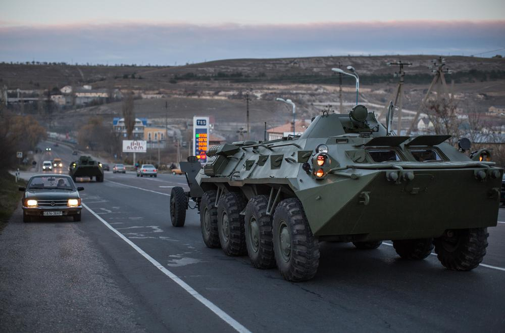Russian APCs drive on the road outside Simferopol, Crimea, a Black Sea peninsula that Moscow annexed from Ukraine in March.