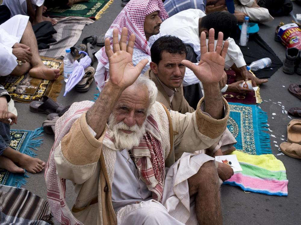 An elderly man joined the largely youthful anti-government protesters on Sixtieth Street in Sanaa. Apr 22, 2011