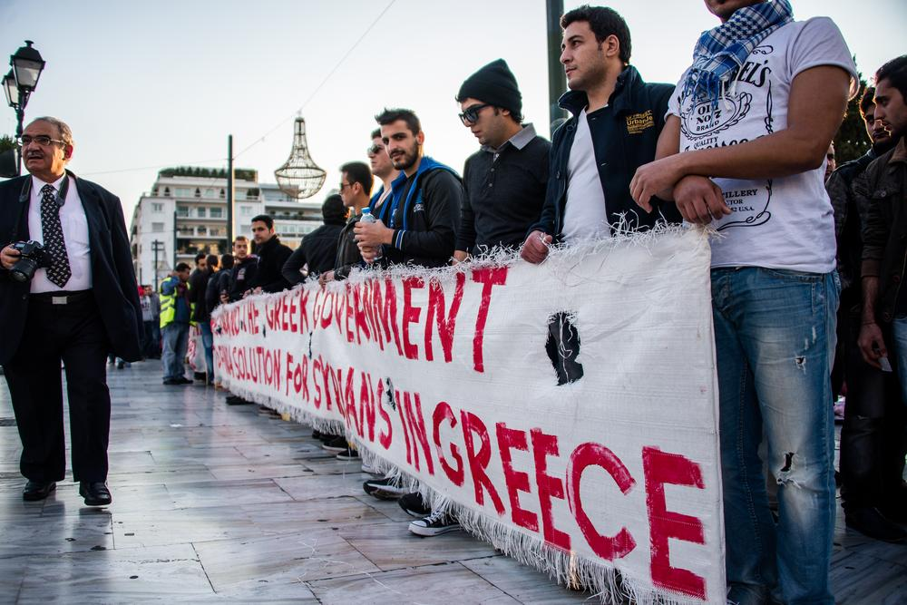 Protesters at Syntagma square demand the Greek government find a solution for Syrian refugees.