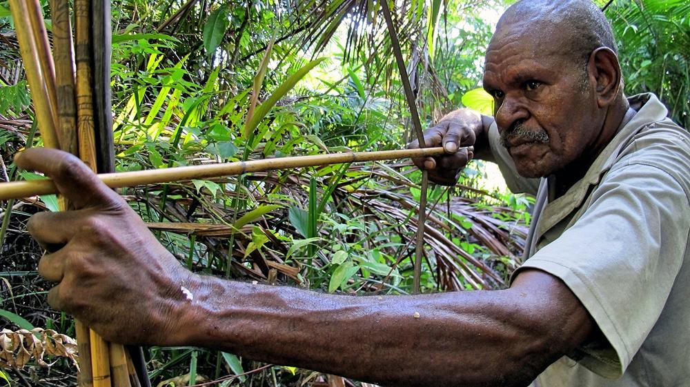 <p>Village Chief Dominicus Mesas, whose main livelihood comes from hunting in the forest, says most of the forest has been lost to palm oil plantation.</p>