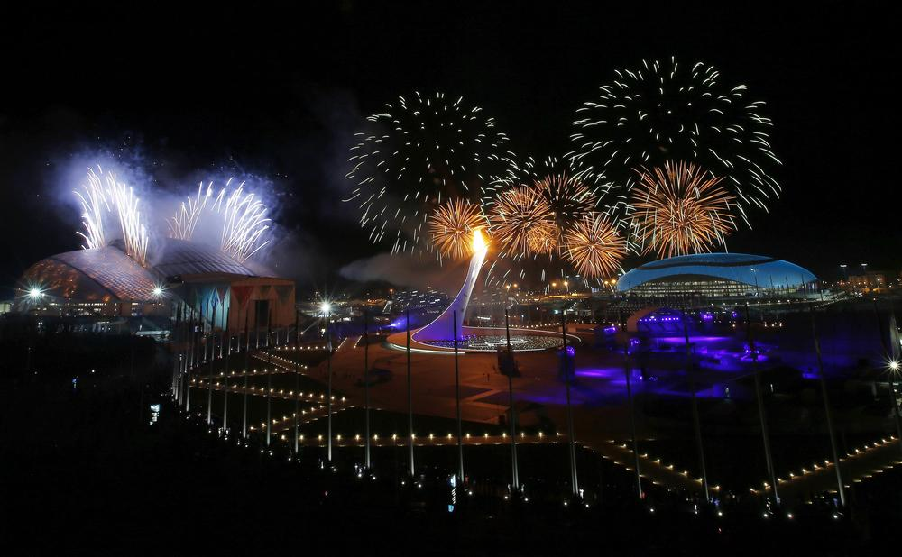 Fireworks over the Olympic Park at the end of the opening ceremony