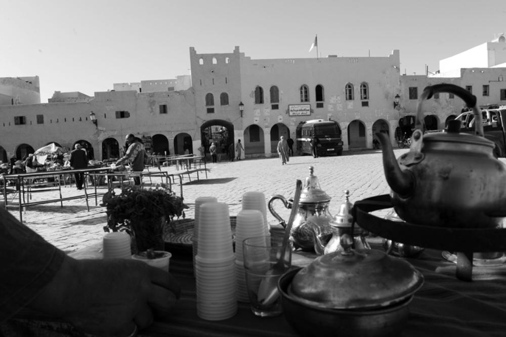 Calm prevails in the market square in Ghardaia.