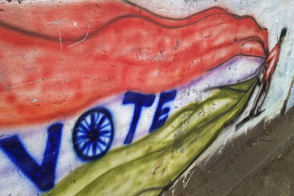 <p>Graffiti on the walls of Shillong exhort all eligible voters to come out on voting day and cast their ballot</p>