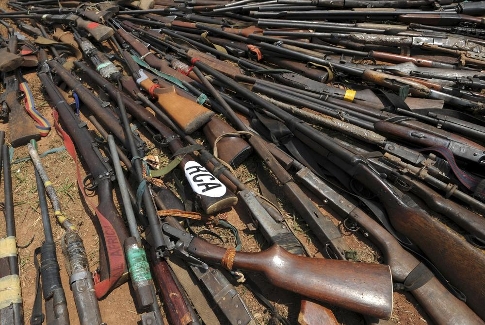 <p>Weapons confiscated from ex-Seleka rebels by the French military are presented in the Central African Republic(***)s capital, Bangui, on February 28. French President Francois Hollande flew to Bangui to declare that France would not allow the country to split in two.</p>