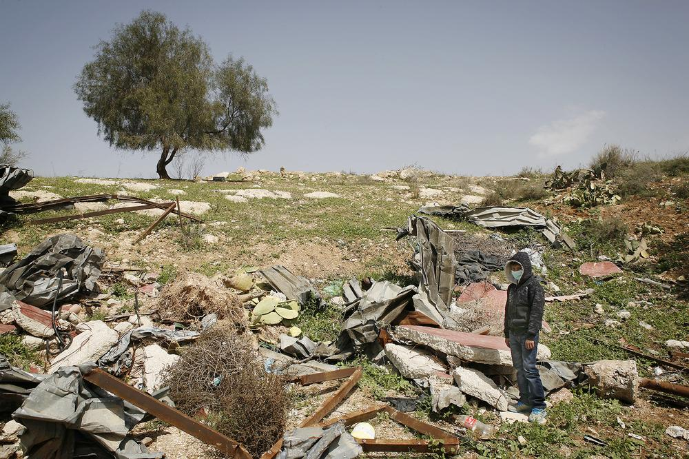 Israel plans to demolish the unrecognised Bedouin village of Atir, and turn the area into a forest. 13-year-old Mousa Abu al-Kean\(***)s home was demolished in 2013.