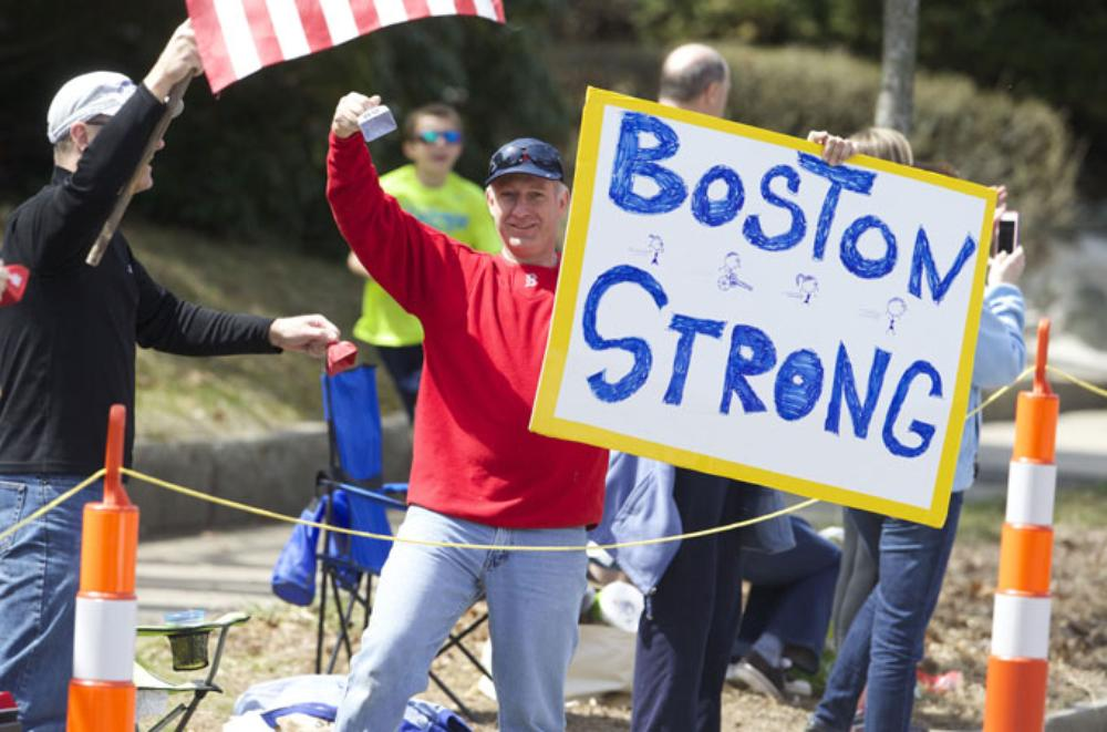 <p>Large crowds gathered at this year(***)s Boston Marathon, following last year(***)s bombing that killed three people and wounded more than 260.</p>
