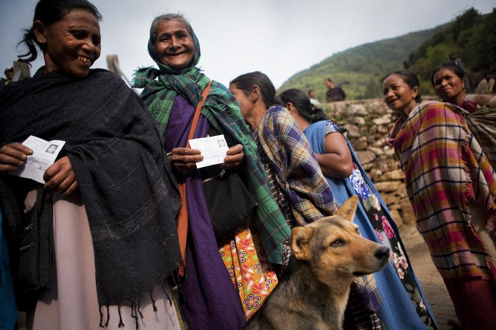 <p>Women stand in queue to cast their vote in Meghalaya state, as the second round of India elections started at 7am on Wednesday.</p>