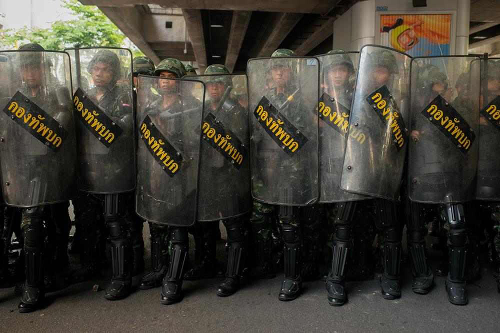 <p>Troops were deployed to control anti-coup protests around Victory Monument in downtown Bangkok.</p>