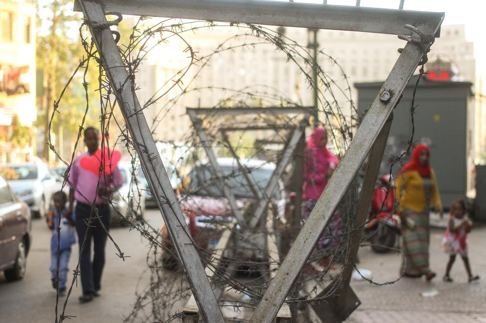 Walking past the long columns of barbed wire has become routine for many Egyptians who look to former military commander and newly elected President Abdel Fattah el- Sisi to provide stability above all else.
