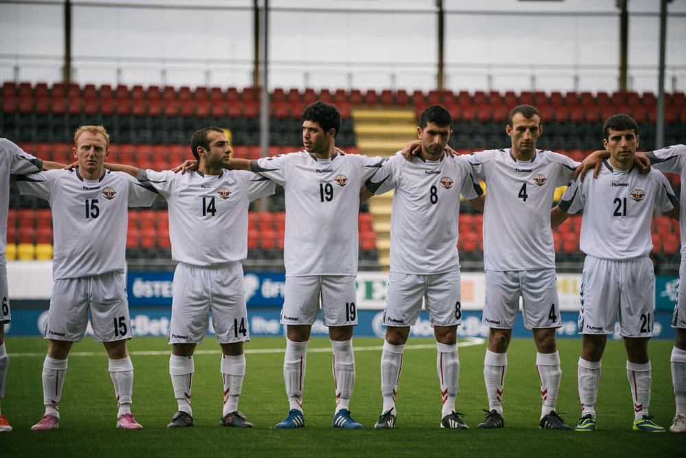 The Nagorno-Karabakh team stands during the playing of the national anthems before a game. Although the football federation of Azerbaijan requested that CONIFA prevent the breakaway republic from participating, CONIFA declined to do so.