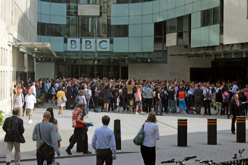 Hundreds of journalists packed the forecourt of the BBC headquarters in central London on Tuesday morning in a silent vigil to protest against the prison sentences handed to three Al Jazeera workers in Egypt 24 hours earlier.