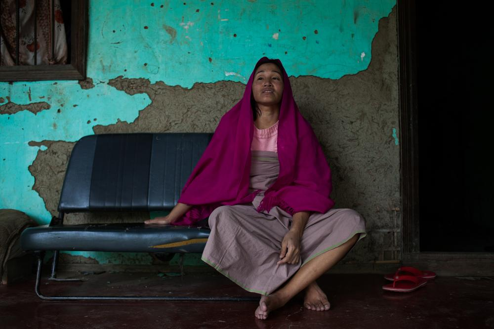 Gangarani Kongkhang, 38, is a visually-impaired woman whose husband Deban Kongkhang was killed after a hail of bullets were fired into the van he was driving, allegedly by the Thoubal District Police Commandos at Patpan Lamkhai in Imphal. The government vowed to punish the perpetrators. She was promised a government job and financial compensation but six years later she has received nothing. She lives on handouts and takes care of her two children aged seven and 12.