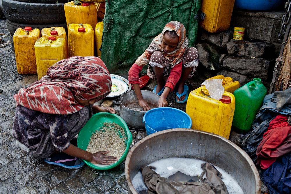 The World Health Organisation/Unicef Joint Monitoring Programme (JMP) estimates that 51 percent of improved water access is piped onto premises in urban areas, but the situation on the ground in the crowded slums on the outskirts of Addis Ababa, the capital, looks different. [Ioana Moldovan/Al Jazeera]