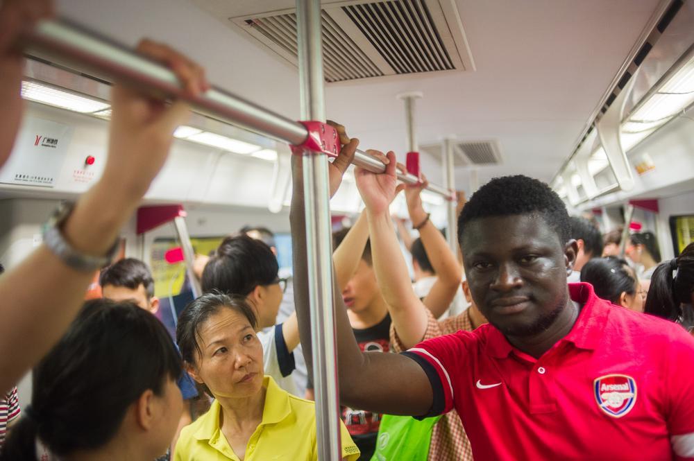 Bah Mohamed Alsrahid, 32, from Kerema, Sierra Leone, travels the subway. Bah, who studies mining engineering at university in Wuhan travelled to  visit some Sierra Leonean friends.
