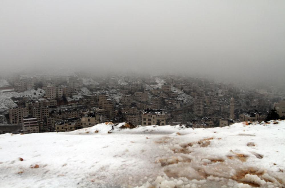 The sky falls onto Nablus, but, with the city over 500m above sea level, snow may not be confined to the surrounding mountains.