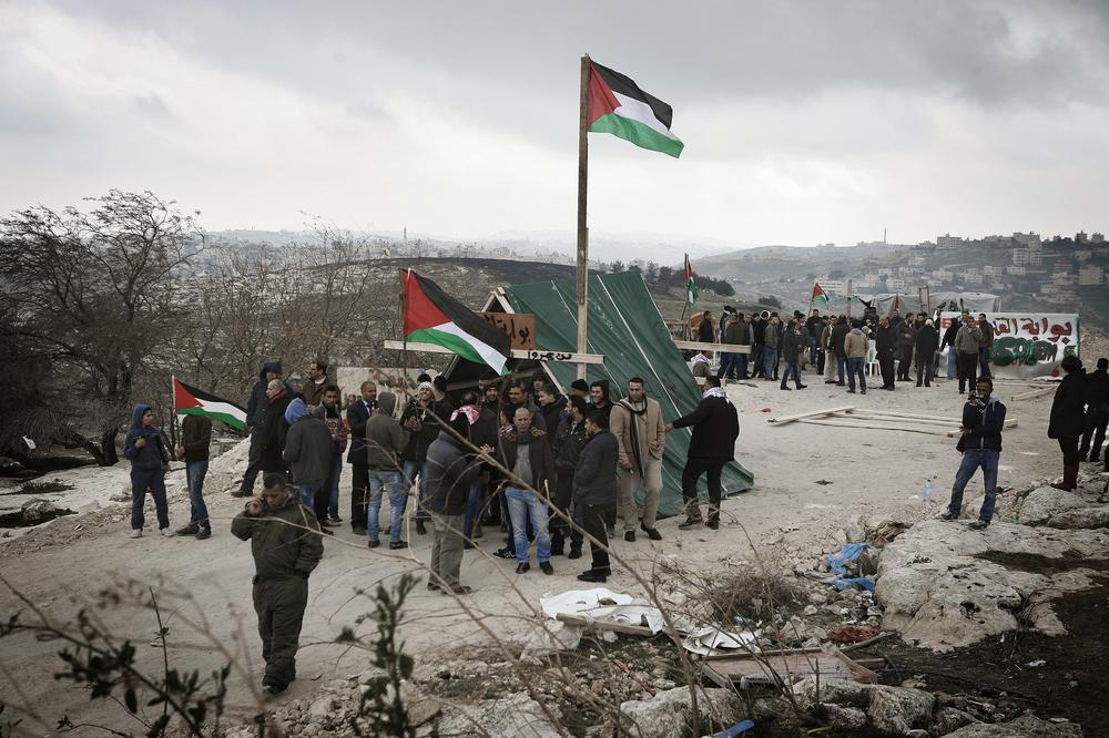 The Bawwabet Al Quds (Gateway to Jerusalem) camp was set up in early February by Palestinian activists to protest Israel's construction plans for the E1 area.