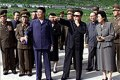 Reclusive North Korean leader Kim Jong-il (in black) and his military leaders