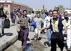 Egyptian prisoners cheering their conditional release last October