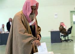 Saudi men voted in Riyadh last month in the first round of polls
