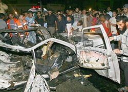 The car carrying two Islamic Jihad members was destroyed