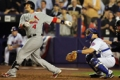 St Louis Cardinals catcher Yadier Molina (L) wins it in New York