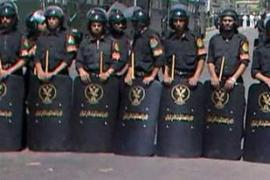 Police at a protest by the Muslim Brotherhood