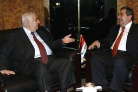 Moallem (L) and Zebari (R) discussed restoring diplomatic relations