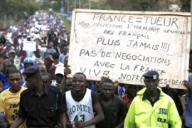 Rwandans protest against alleged French complicity in the genocide