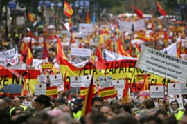 Tens of thousands marched through the Spanish capital to support victims of terror
