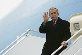George Bush has arrived in Latvia for the Nato summit